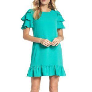 Charles Henry Tiered Ruffle Shift Dress Green